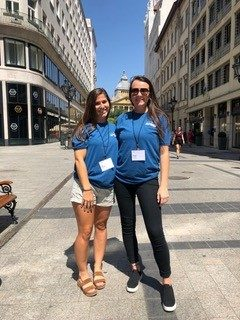 Maria Keener (left) and Megan Condi outside the Kempinski Hotel in Budapest, Hungary.